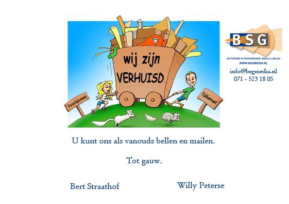 Verhuisbericht Dorus Rijkers naar Tjalkenwerf mailing